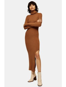 Camel Knitted Roll Neck Dress by Topshop