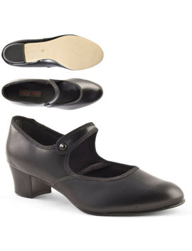 Ladies Girls Cuban Heel Black Character Shoes Button Bar By Dance Gear Bcp by Ebay Seller
