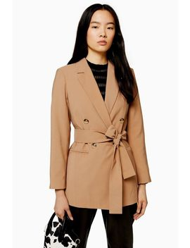 Camel Double Breasted Belted Twill Blazer by Topshop