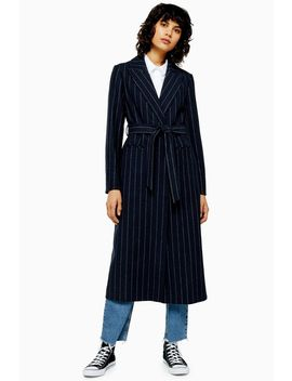 Navy Pinstripe Belted Coat With Wool by Topshop