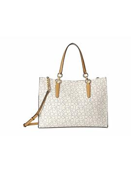 Monogram East/West Box Tote by Calvin Klein