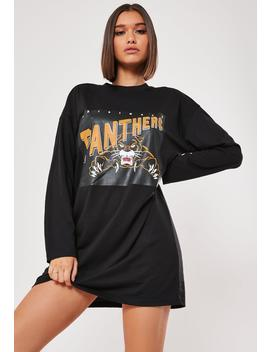 Black Oversized Panthers Graphic T Shirt Dress by Missguided