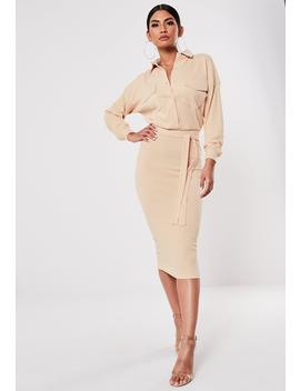 Sand Rib Belted Midi Shirt Dress by Missguided