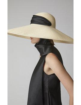 Veruschka Cotton Trimmed Straw Hat by Eugenia Kim