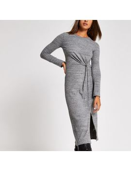 Grey Long Sleeve Twist Front Midi Dress by River Island