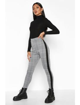 Contrast Mini Check Jacquard Treggings by Boohoo