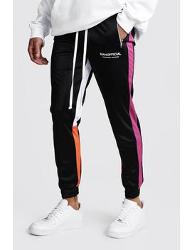 Man Official Tricot Skinny Fit Colour Block Jogger by Boohoo