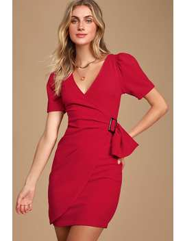 Apulia Red Puff Sleeve Belted Bodycon Dress by Lulus
