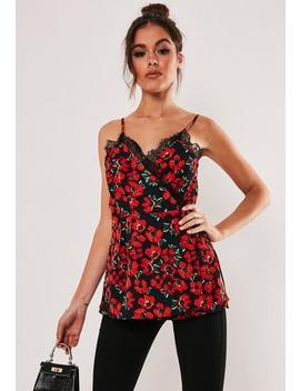 Red Lace Trim Wrap Over Floral Print Cami Top by Missguided