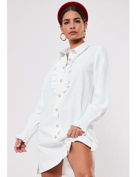 White Gold Look Button Front Ruffle Shirt Dress by Missguided