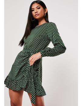 Green Ruched Button Side Polka Dot Tea Dress by Missguided