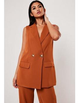 Terracotta Co Ord Long Sleeveless Horn Button Blazer by Missguided
