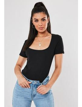 Black Rib Scoop Neck T Shirt by Missguided