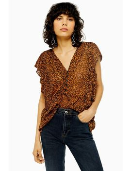 Idol Animal Print Plisse Pleat Sleeve Top by Topshop