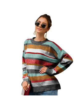 Women's Colorful Striped Sweater Knitted Loose Jumper Top Knitwear Casual Coat by Unbranded