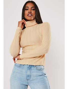 Camel Extreme Rib Roll Neck Knitted Top by Missguided
