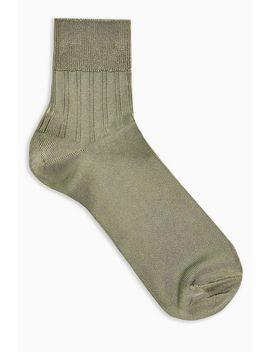 Green Ribbed Slinky Socks by Topshop