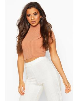 Soft Rib High Neck Cap Sleeve Crop Top by Boohoo