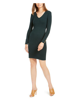 Button Sleeve V Neck Sweater Dress by General