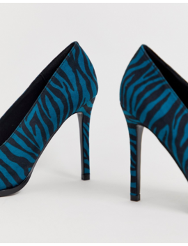 Asos Design Powerful High Heeled Pumps In Blue Zebra by Asos Design