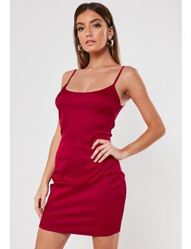 Red Stretch Satin Bodycon Mini Dress by Missguided