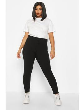 Plus Soft Rib Tie Front Skinny Jogger by Boohoo