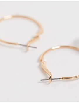 Monki Hoop Earrings With Faux Pearl In Gold by Monki