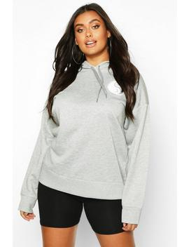 Plus Sun Pocket Print Oversized Hoodie by Boohoo