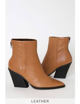Issa Cognac Leather Pointed Toe Ankle Booties by Dolce Vita