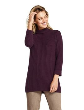 Women's 3/4 Sleeve Mock Neck Cable Tunic Sweater by Lands' End