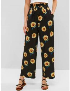 Zaful Drawstring Sunflower Wide Leg Pants   Black L by Zaful