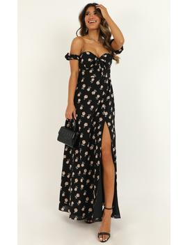 Too Busy Being In Love Dress In Black Floral by Showpo Fashion