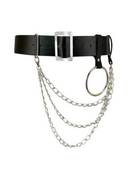 Women Pu Leather Harness Body Belts With Chain Waist Bondage Garters Punk Adjustable Suspender Straps by Ali Express.Com