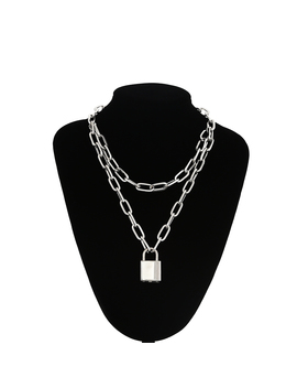 Double Layer Lock Chain Necklace Punk 90s Link Chain Silver Color Padlock Pendant Necklace Women Fashion Gothic Jewelry by Ali Express.Com
