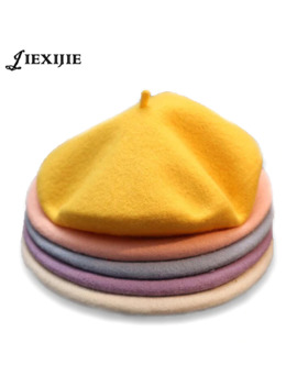 2018 Winter Cheap 100% Wool Solid Color Beret Caps Female Bonnet Women Caps Lady Painter All Matched Warm Walking Hat Wholesale by Ali Express.Com