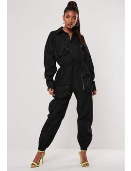 Black Utility Pocket Jumpsuit by Missguided