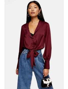 Burgundy Satin Knot Front Shirt by Topshop