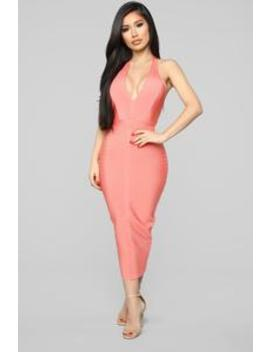 Bandage My Heart Midi Dress   Coral by Fashion Nova