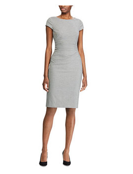 Geometric Print Cap Sleeve Houndstooth Dress by General