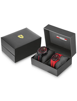 Men's Red Rev Black & Red Silicone Strap Watches 38mm & 44mm Gift Set by General