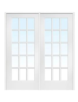 72 In. X 80 In. Right Hand Active Primed Composite Glass 15 Lite Clear True Divided Prehung Interior French Door by Mmi Door