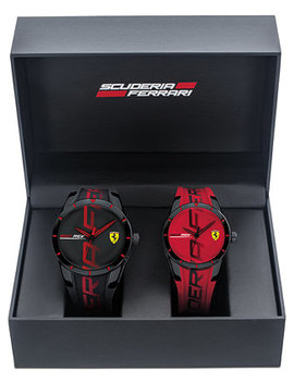 Men's Red Rev Red & Black Rubber Strap Watch 44mm & 38mm Gift Set by General