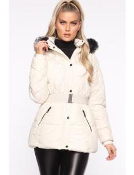 Belted My Cold Heart Puffer Jacket   Ivory by Fashion Nova