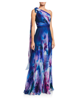 Watercolor One Shoulder Pleated Chiffon Gown W/ Draped Bow by Marchesa Notte