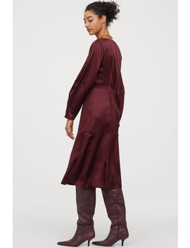 Silk Boat Neck Dress by H&M