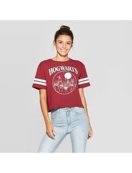 Women's Harry Potter Short Sleeve Hogwarts Cropped T Shirt (Juniors')   Garnet by Harry Potter