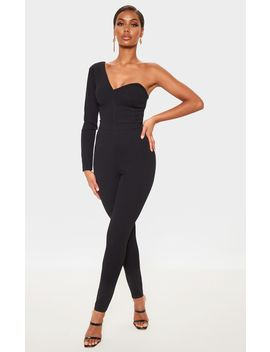 Black One Shoulder Straight Leg Jumpsuit by Prettylittlething