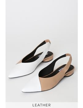 Magda Taupe And White Leather Pointed Toe Slingback Flats by Caverley