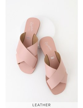 Total Relaxation Pink Leather Slide Sandals by Seychelles
