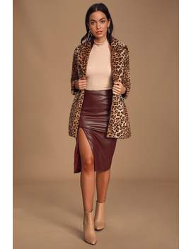 Mireya Wine Red Vegan Leather Pencil Skirt by Lulus